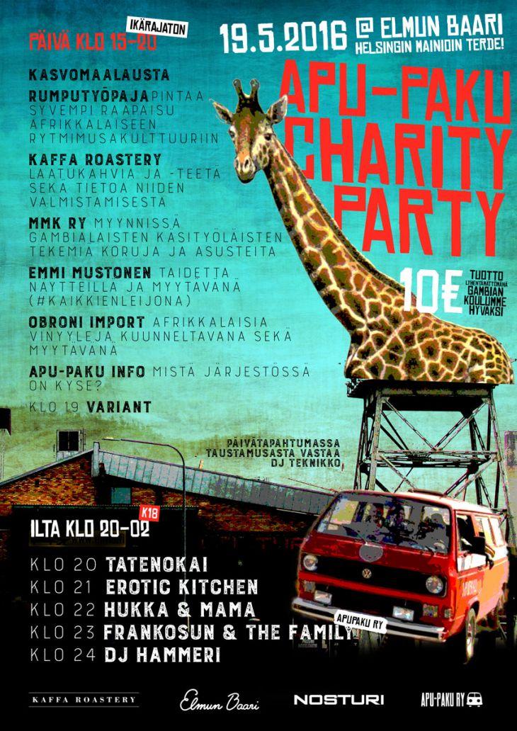 Apu-Paku Charity Party 19.5. Elmun baarissa Juliste: Graafinen suunnittelu Teemu Hakala